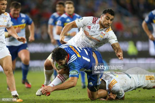 Viljoen of the Stormers and Liam Messam of Chiefs during the Super Rugby Quarter final between DHL Stormers and Chiefs at DHL Newlands on July 22...