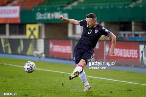 Viljormur Davidsen of Faroe Islands crosses the ball during the FIFA World Cup 2022 Qatar qualifying match between Austria and the Faroe Islands on...