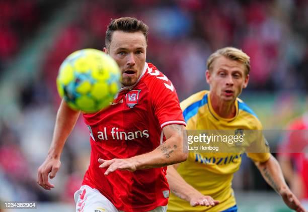 Viljormur Davidsen of Vejle Boldklub in action during the Danish 3F Superliga match between Vejle Boldklub and Brondby IF at Vejle Stadion on August...