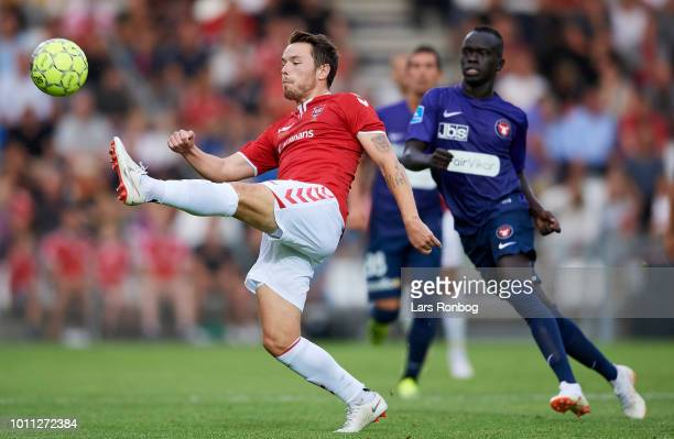 Viljormur Davidsen of Vejle Boldklub in action during the Danish Superliga match between Vejle Boldklub and FC Midtjylland at Vejle Stadion on August...
