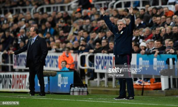 Villa boss Steve Bruce reacts during the Sky Bet Championship match between Newcastle United and Aston Villa at St James' Park on February 20, 2017...