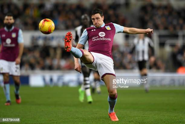 Villa defender Tommy Elphick in action during the Sky Bet Championship match between Newcastle United and Aston Villa at St James' Park on February...