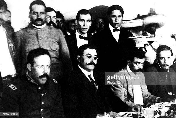 Villa Eulalio Gutierrez and Emiliano Zapata together for a banquet between the Huerta and Carranza presidencies Mexico Mexico Culture funds