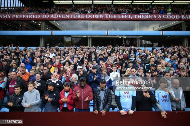 Villa fans look on during the Premier League match between Aston Villa and Brighton Hove Albion at Villa Park on October 19 2019 in Birmingham United...