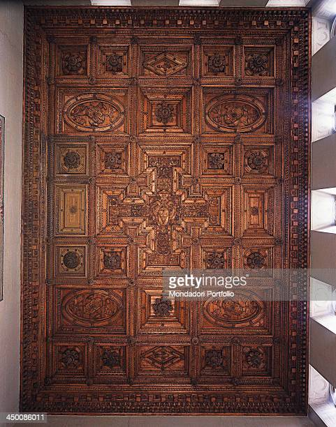 Villa Farnese ceiling of the Great Hall by Barozzi Jacopo known as Vignola 16th Century carved cypress wood 14 x 21 m