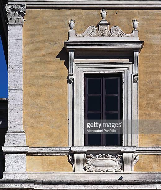 Villa Giulia by Ammannati Bartolomeo Barozzi Jacopo known as Vignola 1550 1553 16th Century visible Roman brick work and travertine yellow ochre...