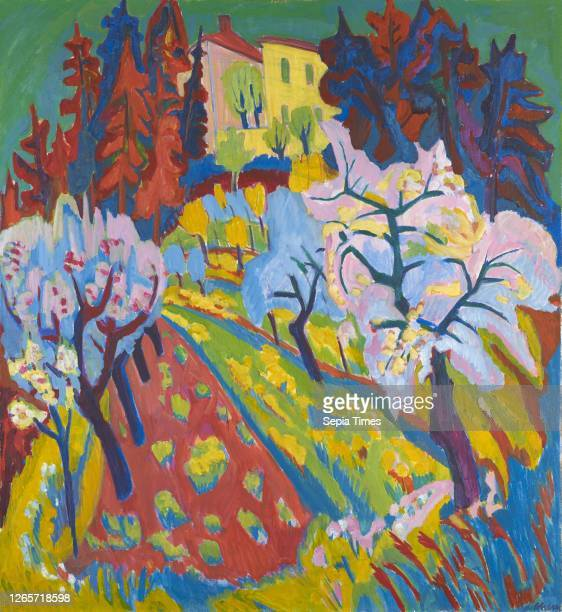 Villa Loverciana with flowering trees oil and tempera on canvas, 120.5 x 110.5 cm, signed lower right: H. Scherer, Hermann Scherer,...