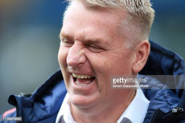 Villa manager Dean Smith laughs and smiles during the Premier League match between Aston Villa and Brighton Hove Albion at Villa Park on October 19...