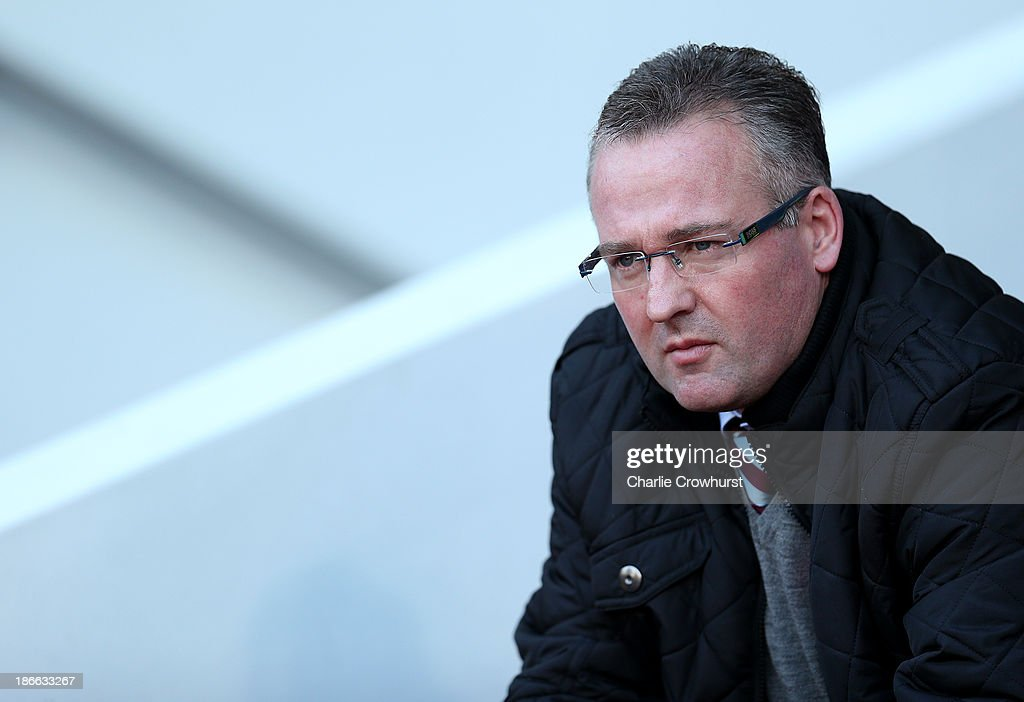 Villa Manager Paul Lambert during the Barclays Premier League match between West Ham United and Aston Villa at Upton Park on November 02, 2013 in London, England.