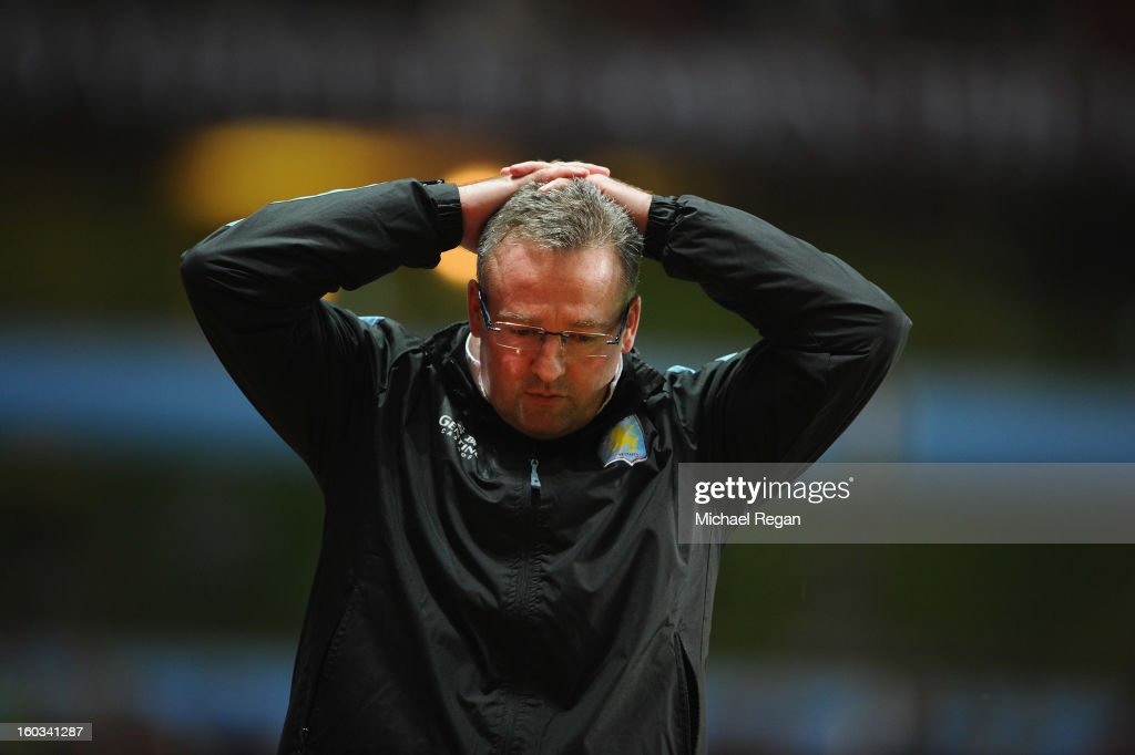 Villa manager Paul Lambert looks dejected during the Barclays Premier League match between Aston Villa and Newcastle United at Villa Park on January 29, 2013 in Birmingham, England.