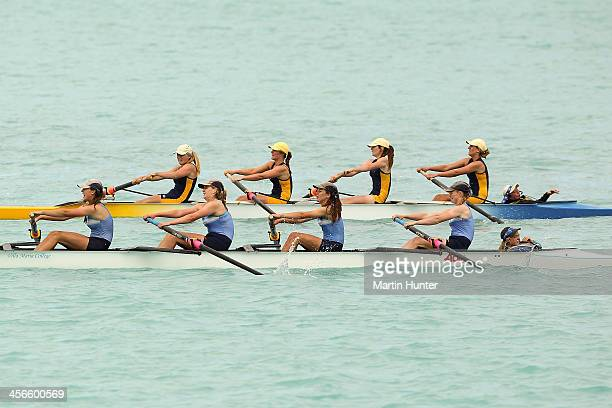 Villa Maria College and Rangi Ruru Girls in the girls under-17 coxed four during the 2013 Meridian Otago Championships at Lake Ruataniwha on December...