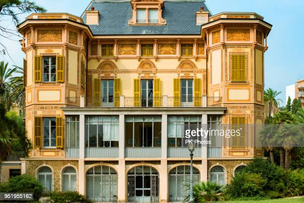 villa nobel, san remo, liguria, italy - san remo italy stock pictures, royalty-free photos & images