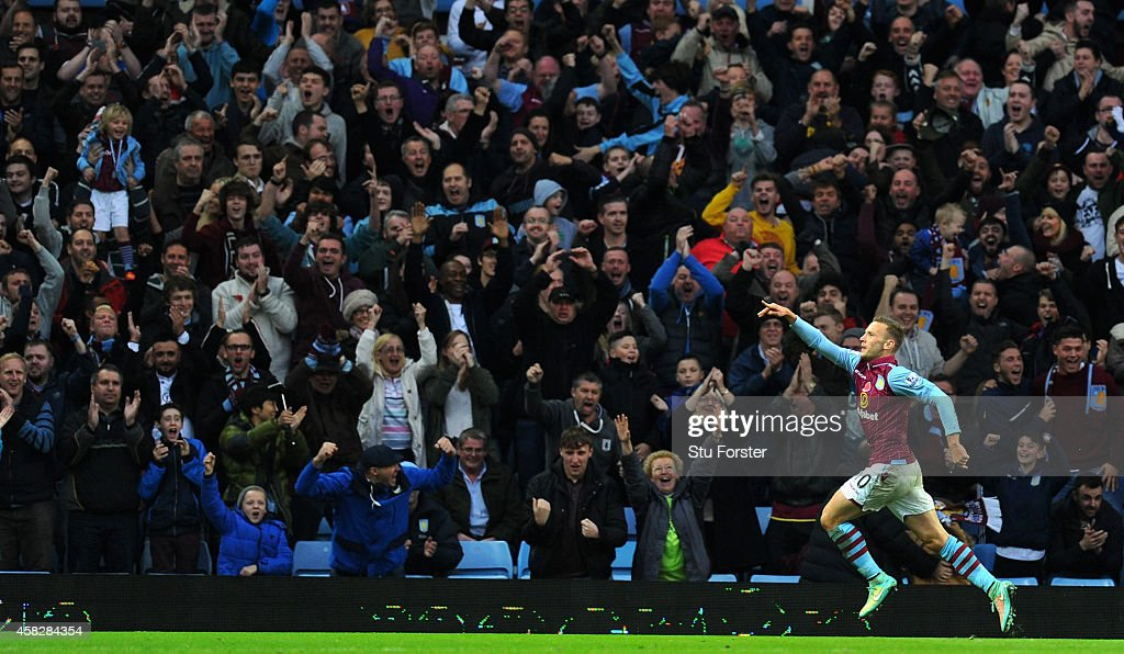 Villa player Andreas Weimann celebrates with the fans after scoring the opening goal during the Barclays Premier League match between Aston Villa and Tottenham Hotspur at Villa Park on November 2, 2014 in Birmingham, England.