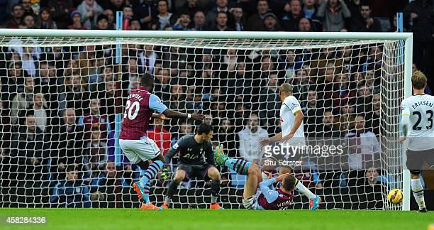 Villa player Andreas Weimann scores the opening goal during the Barclays Premier League match between Aston Villa and Tottenham Hotspur at Villa Park...