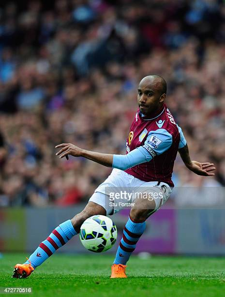 Villa player Fabian Delph in action during the Barclays Premier League match between Aston Villa and West Ham United at Villa Park on May 9 2015 in...