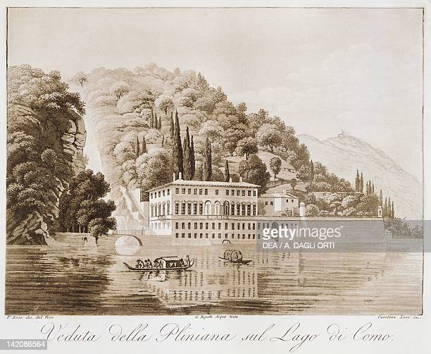 Villa Pliniana in Torno on Lake Como, by Historical Travel Pictorial at the three lakes Italy 19th Century.