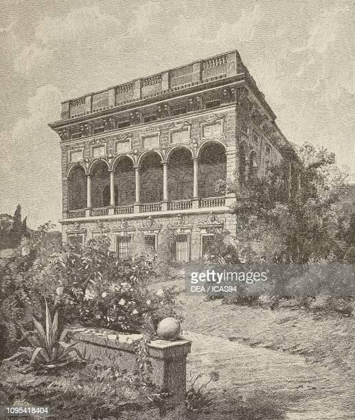 Villa Saluzzo Bombrini Genoa Italy engraving from L'Illustrazione Italiana year 19 no 45 November 6 1892