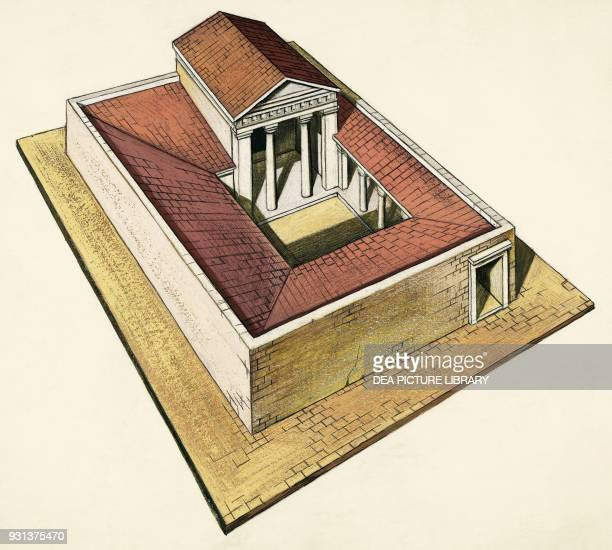 Villa with peristyle and banquet hall Athens Greece drawing Greek civilization 5th century BC