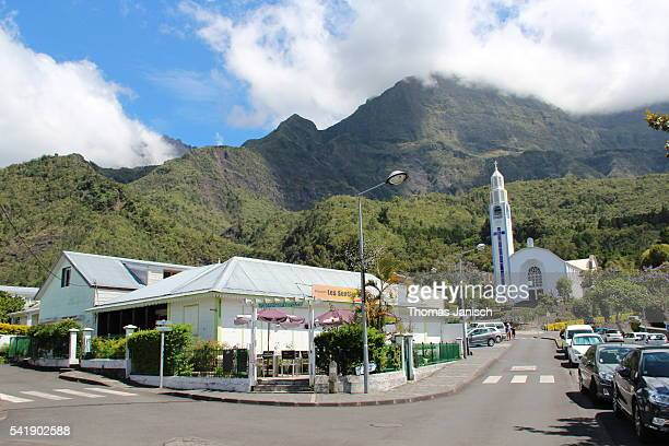 Village and church of Cilaos in front of Piton des Neiges, Reunion island