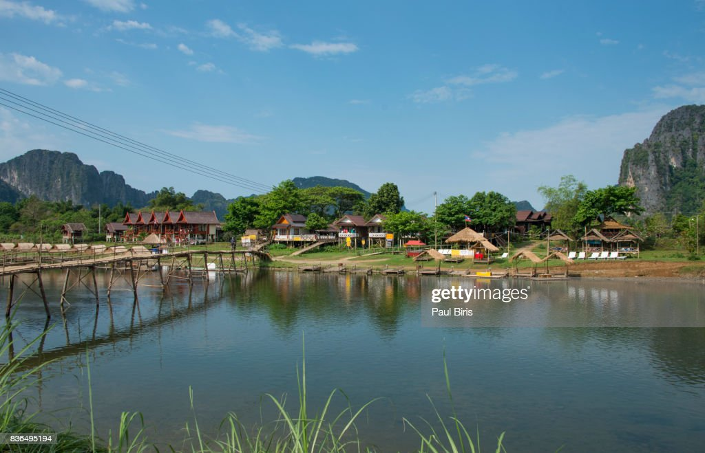 Village and mountain in Vang Vieng, Laos : Stock Photo