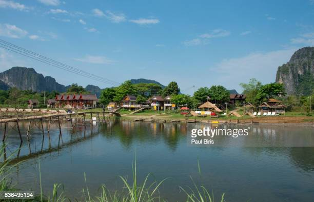 Village and mountain in Vang Vieng, Laos