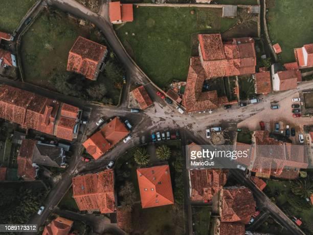 village as seen from above - cidade pequena imagens e fotografias de stock