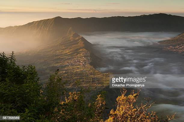 village at bromo - bromo crater stock pictures, royalty-free photos & images
