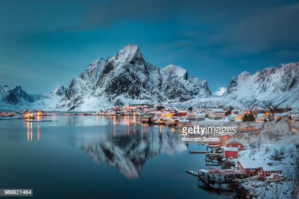 A village at night in Reine, Norway.