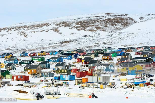 Village at remote polar landscape