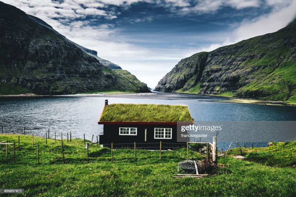 village at saksun with grass on the roof : Stock Photo