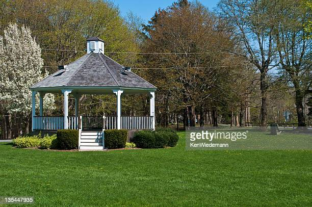 village bandstand - pavilion stock pictures, royalty-free photos & images