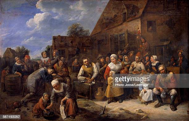 A village banquet Festival's scene with peasants at the table Painting by Gillis Van Tilborgh 17th century BeauxArts Museum Rouen France
