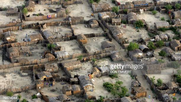 A village between Lake Chad and N'Djamena Chad is seen from the air as the United Nations Secretary General Ban Kimoon visits the area 07 September...