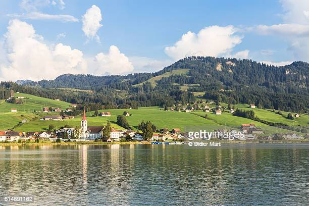 village by lake sihlsee near einsiedeln in switzerland - schwyz stock pictures, royalty-free photos & images