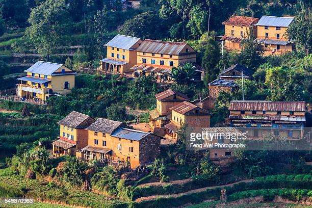 Village by terraced field, Nagarkot, Nepal