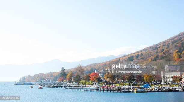 village by the chuzenji lake in nikko, japan - 栃木県 ストックフォトと画像