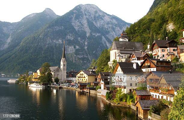 Village by the water with mountains in Hallstatt Austria