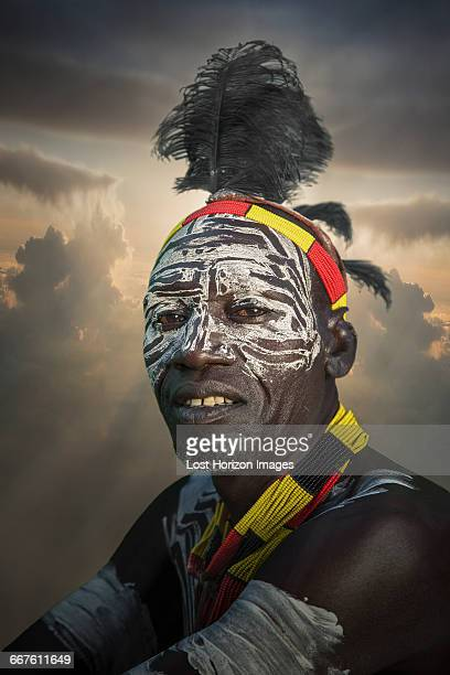 village chief of a community of the mursi tribe, omo valley, ethiopia - african tribal face painting stock photos and pictures