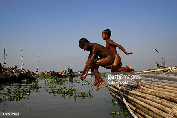 Village childrens at Sonargaon swim in the river with so much fun Our city children can not get it 2007