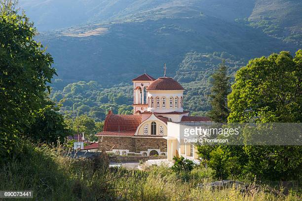 Village church in rural setting, Elos, Crete