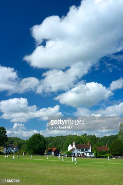 village cricket in england - surrey england stock pictures, royalty-free photos & images