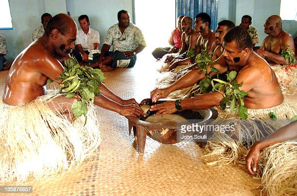 Village elders performing Kava ceremony during Kelly Slater Invitational Fiji Day 2 Mome Village Tour in Mome Village Tavarua Island Fiji