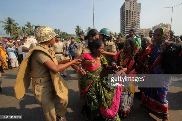 Village farmers are seen in the national highway between CuttackBhubaneswar twin city as they arrested by police force when they approaching towards...
