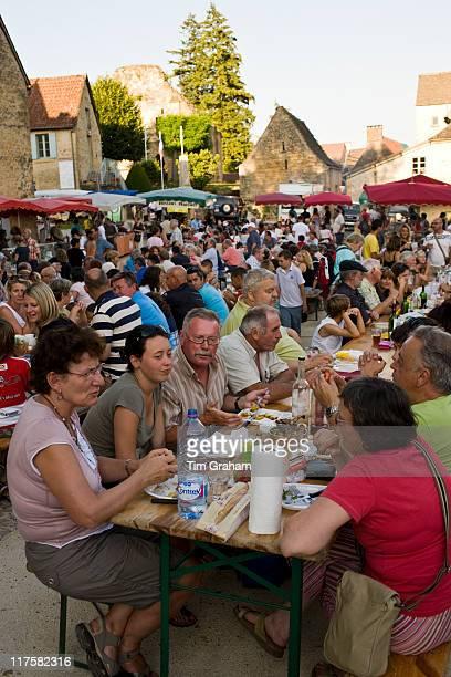 Village fete traditional festival in St Genies in the Perigord region France