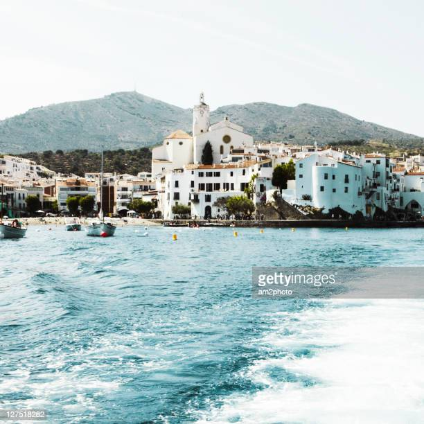 village front of sea - cadaques stock pictures, royalty-free photos & images