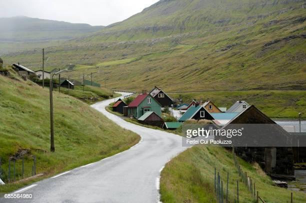 Village Funningsfjordur of Eysturoy Island, Faeroe Islands