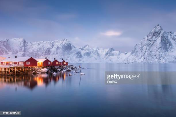village hamnoy lofoten islands norway. - norway stock pictures, royalty-free photos & images