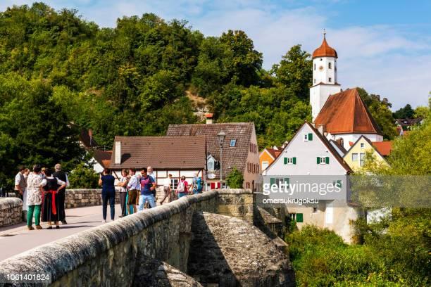 Village houses near River Wörnitz in Harburg (Swabian), Donau-Ries district, Bavaria, Germany