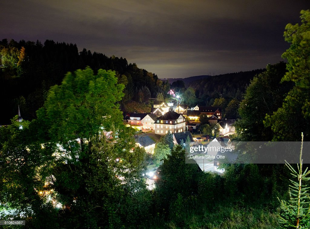 Village in Ore mountains at night, Pobershau, Germany : Stock-Foto