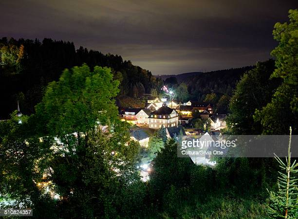 Village in Ore mountains at night, Pobershau, Germany